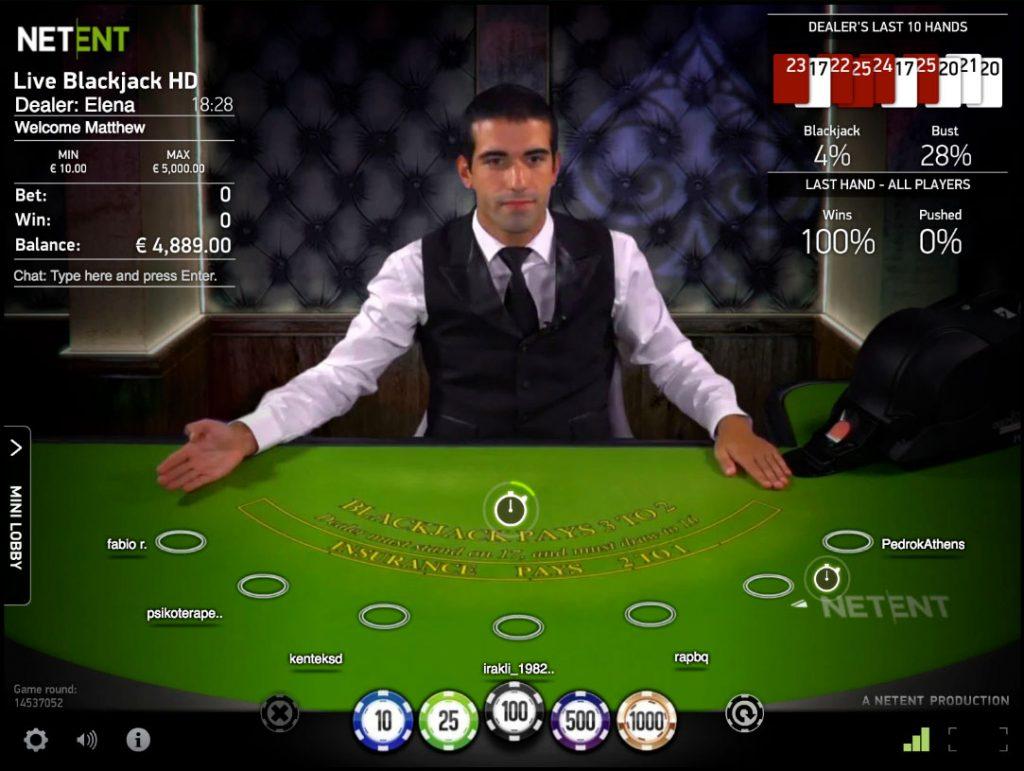 Blackjack Live game